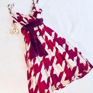 Dresses & Skirts - Burgundy & Champagne Fit-n-Flare Houndstooth Dress
